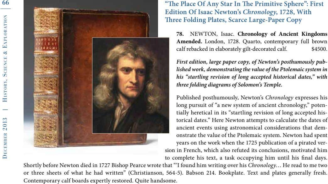 "66 ""The Place Of Any Star In The Primitive Sphere"": First Edition Of Isaac Newton's"