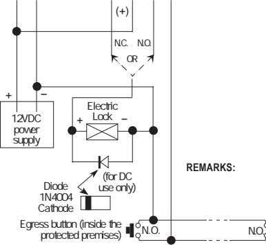 + -- Electric 12VDC + Lock -- power supply REMARKS: (for DC Diode use only)