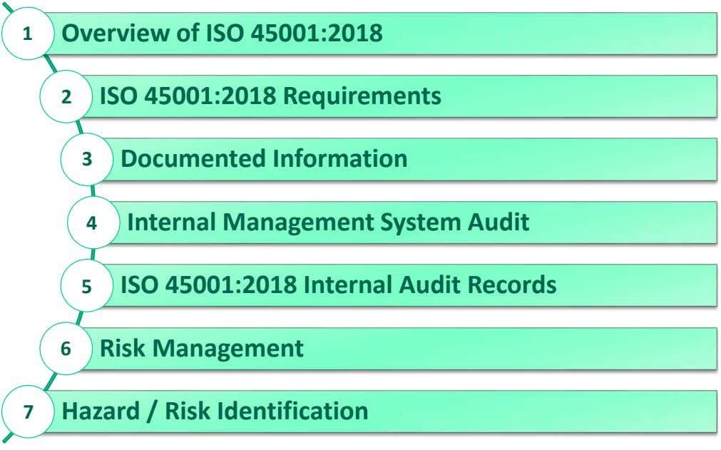 1 Overview of ISO 45001:2018 2 ISO 45001:2018 Requirements 3 Documented Information 4 Internal Management