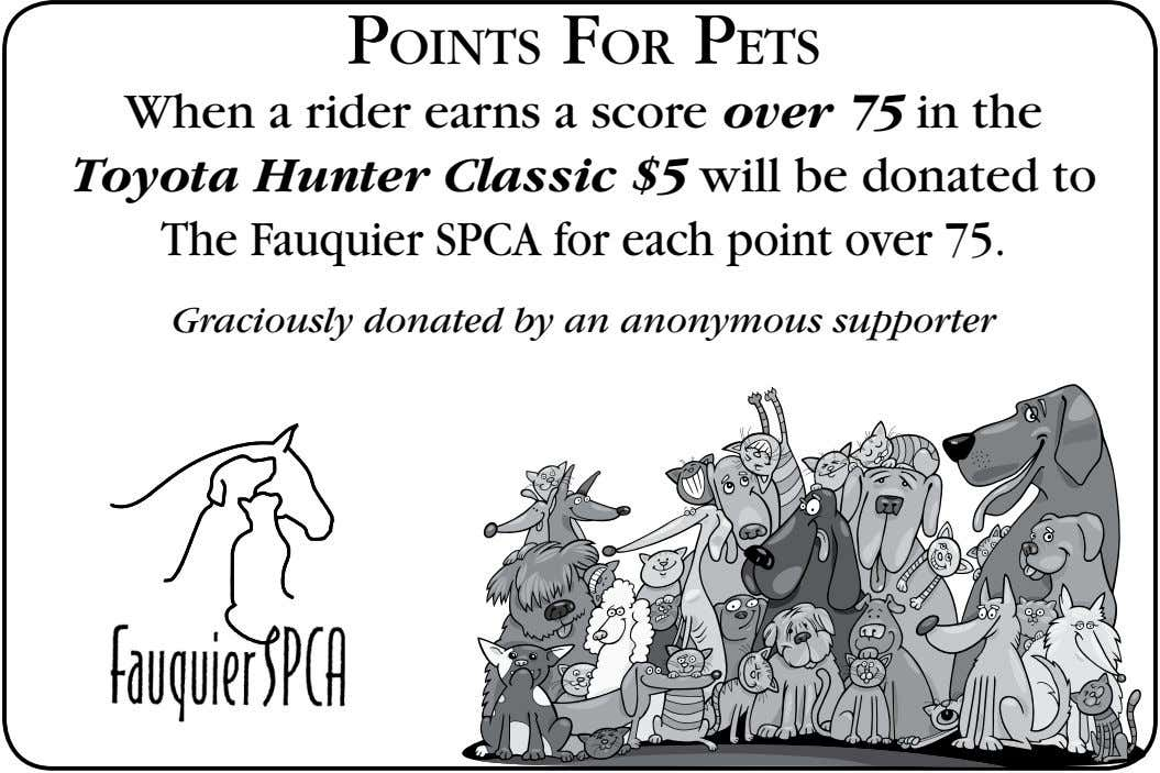 Points For Pets When a rider earns a score over 75 in the Toyota Hunter