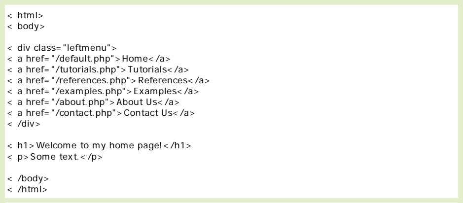 of the page above (in a browser), it will look like this: PHP require() Function The
