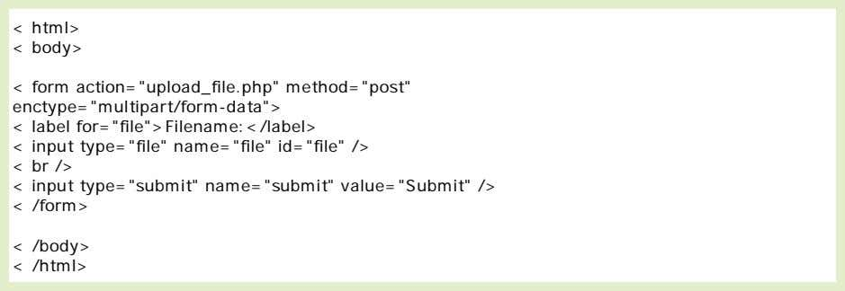 Look at the following HTML form for uploading files: Notice the following about the HTML form