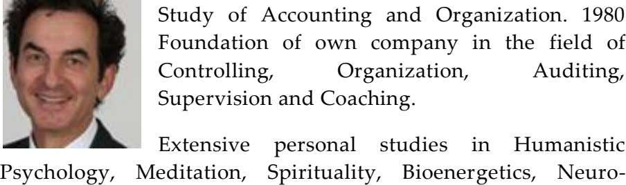 Study of Accounting and Organization. 1980 Foundation of own company in the field of Controlling, Organization,