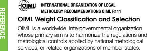 INTERNATIONAL ORGANIZATION OF LEGAL METROLOGY RECOMMENDATIONS OIML R111 OIML Weight Classification and Selection OIML