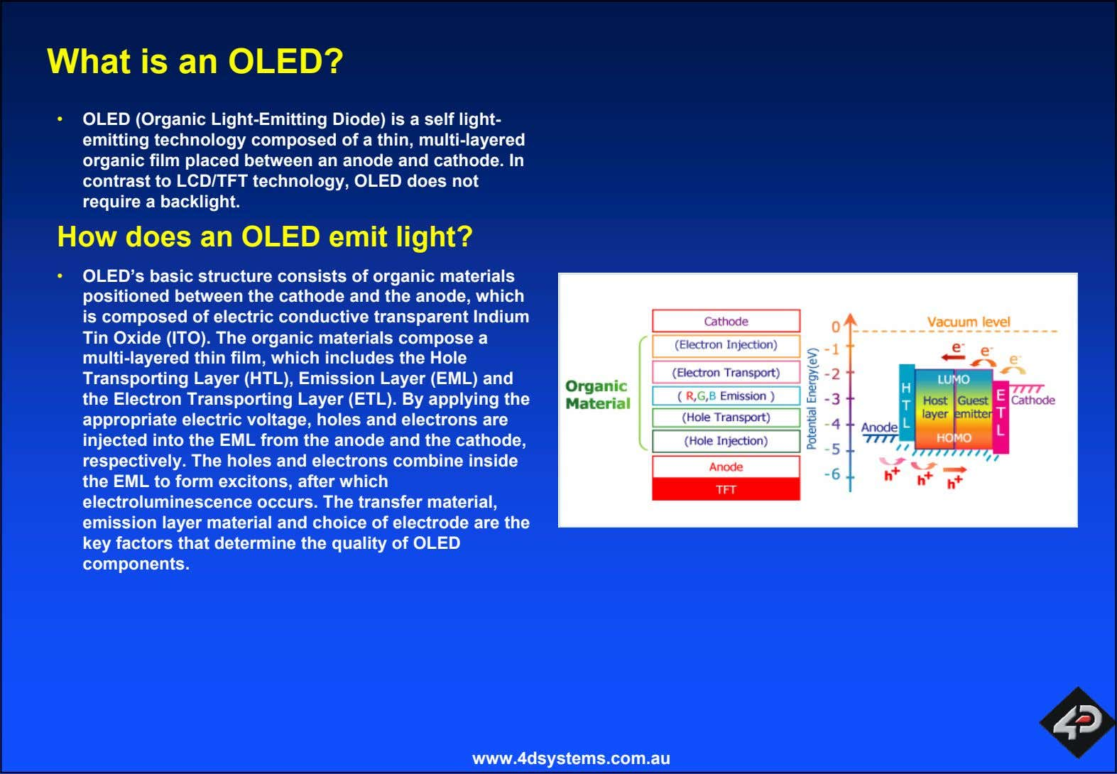 What is an OLED? • OLED (Organic Light-Emitting Diode) is a self light- emitting technology
