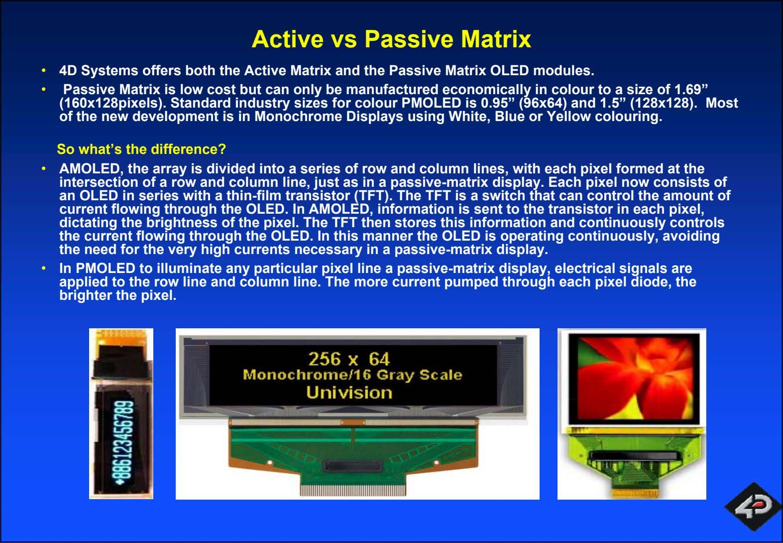 Active vs Passive Matrix • 4D Systems offers both the Active Matrix and the Passive