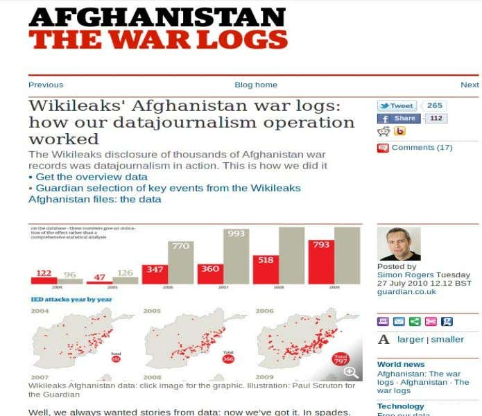 Periodismo digital como contenido / Data journalism Caso: The Guardian Wikileaks' Afghanistan war logs: how our