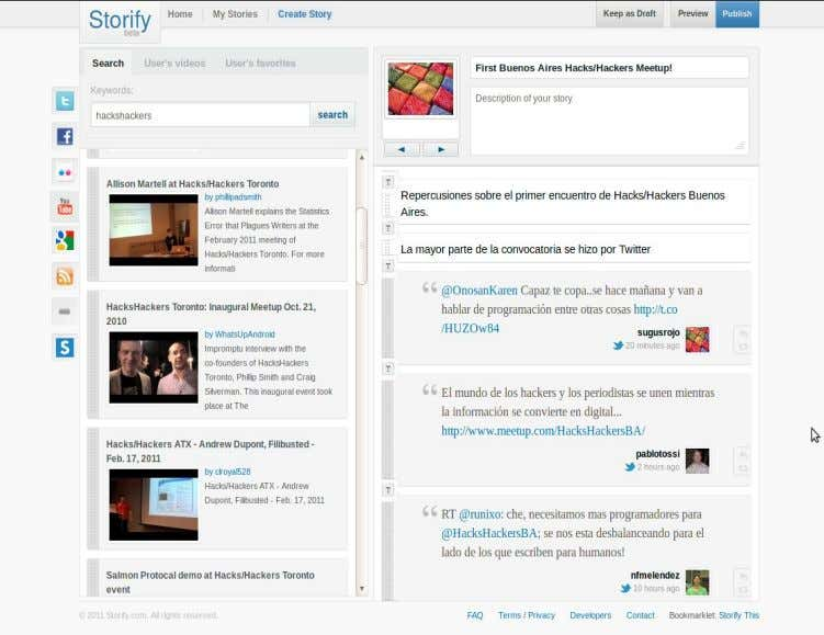 como herramienta. Casos: Storify Crear historias usando medios sociales / To make stories using social media