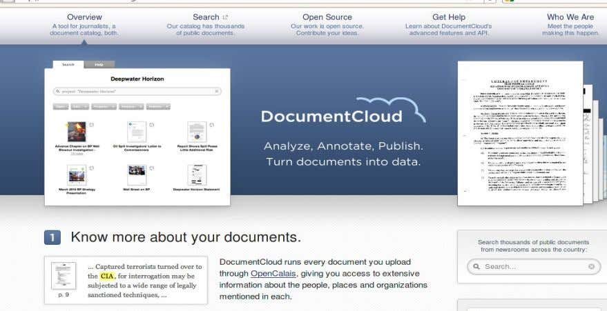 Fuentes digitales ● Enormes recursos digitales: DocumentCloud.org