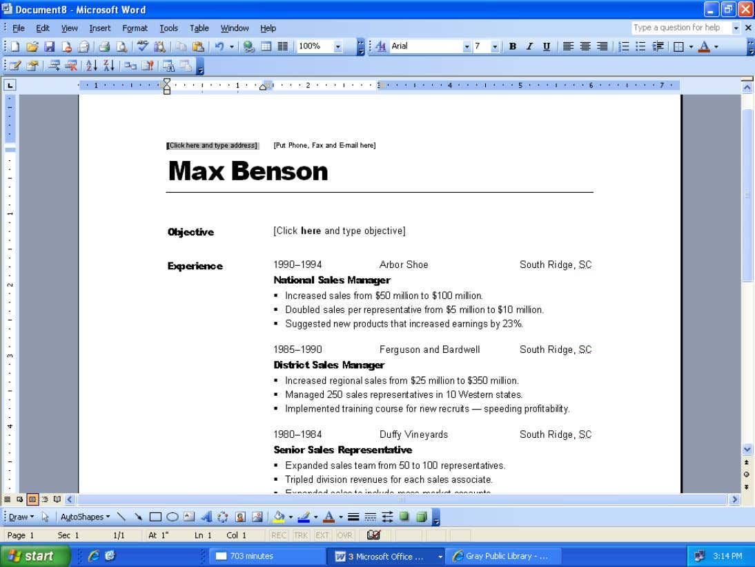 How to Create a Resume Using Microsoft Word cont… STEP 11: This is the sample resume.