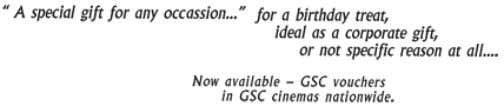 Please refer to the full list of Terms & Conditions on http://www.gsc.com.my/Showtimes/ePayment/ePayment.aspx