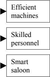 Efficient machines Skilled personnel Smart saloon