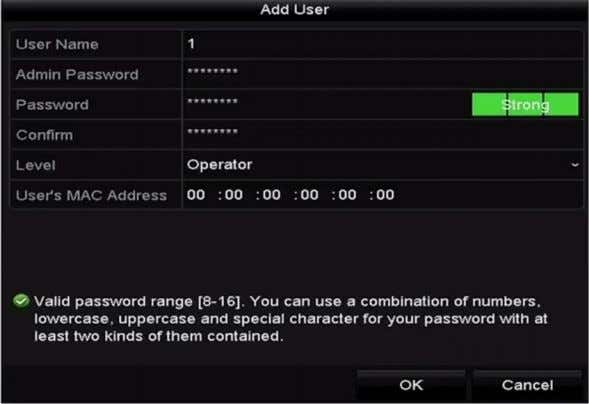 Password , Confirm , Level and User's MAC Address . Figure 4-1 Add User Menu Step