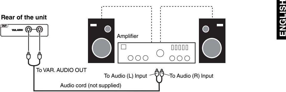 Rear of the unit Amplifier To VAR. AUDIO OUT To Audio (L) Input To Audio