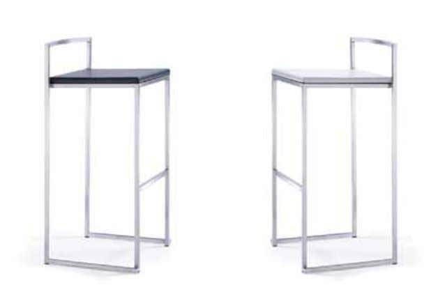 BS00110BL - BS00120Wh mATeRiAL ∙ Bar stool frame in brushed stainless steel ∙ Seat in quality