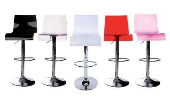 BS00340BL - BS00350Pi - BS00360Re - BS00370Sm - BS00380Wh mATeRiAL ∙ Acrylic seat ∙ Chrome steel