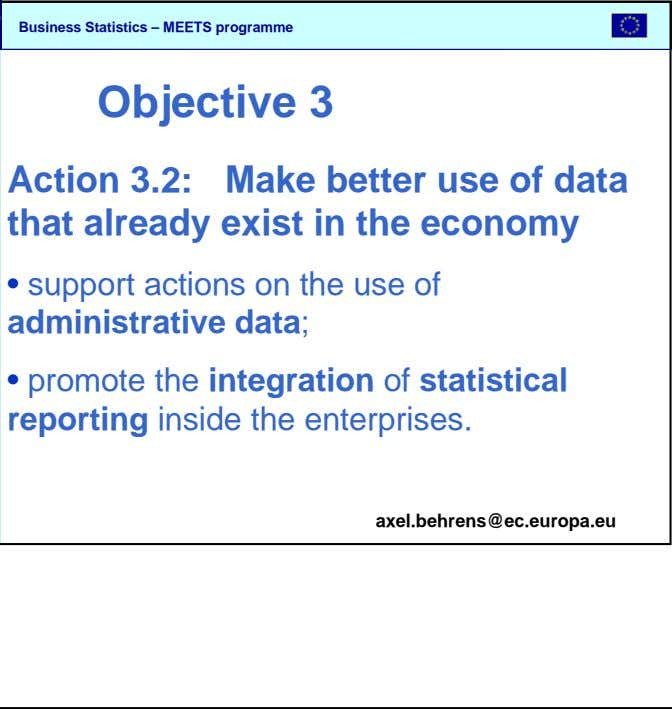 SBS Objective 3 Action 3.2: Make better use of data that already exist in the economy