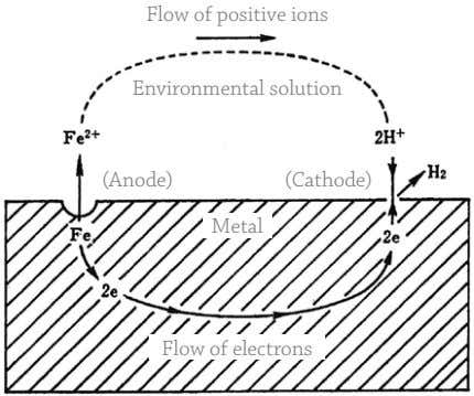 Flow of positive ions Environmental solution (Anode) (Cathode) Metal Flow of electrons