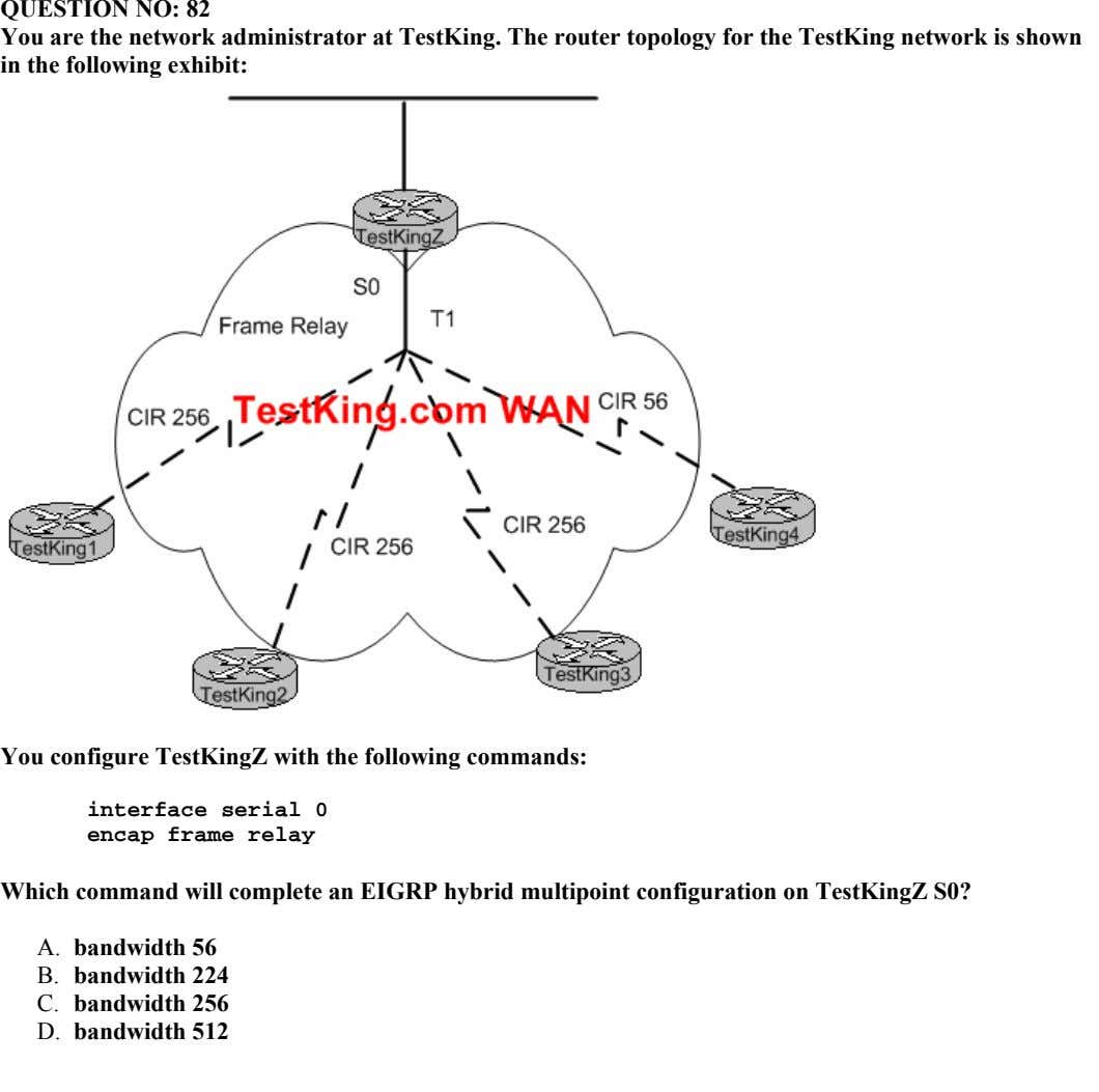 QUESTION NO: 82 You are the network administrator at TestKing. The router topology for the