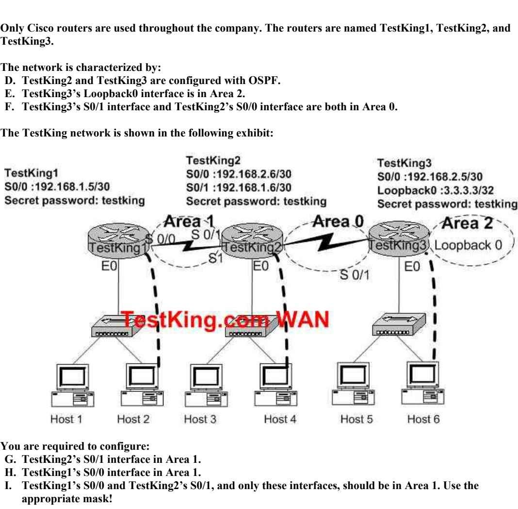 Only Cisco routers are used throughout the company. The routers are named TestKing1, TestKing2, and