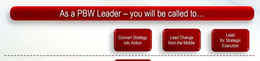 As a PBW Leader – you will be called to… Lead Convert Strategy for Strategic