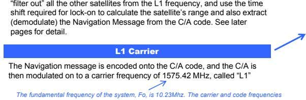 q shift required for lock-on to calculate the satellite's range and also extract (demodulate) the