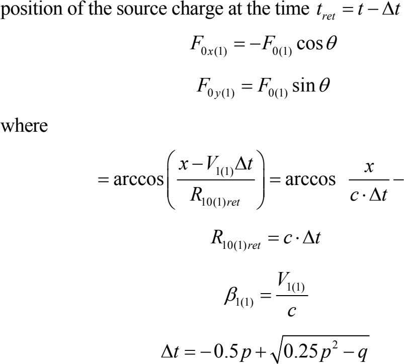 position of the source charge at the time = tt−Δ t ret = −F cos