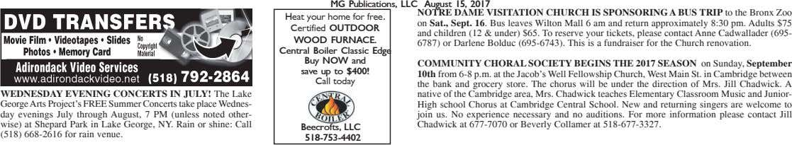 MG Publications, LLC August 15, 2017 NOTRE DAME VISITATION CHURCH IS SPONSORING A BUS TRIP to