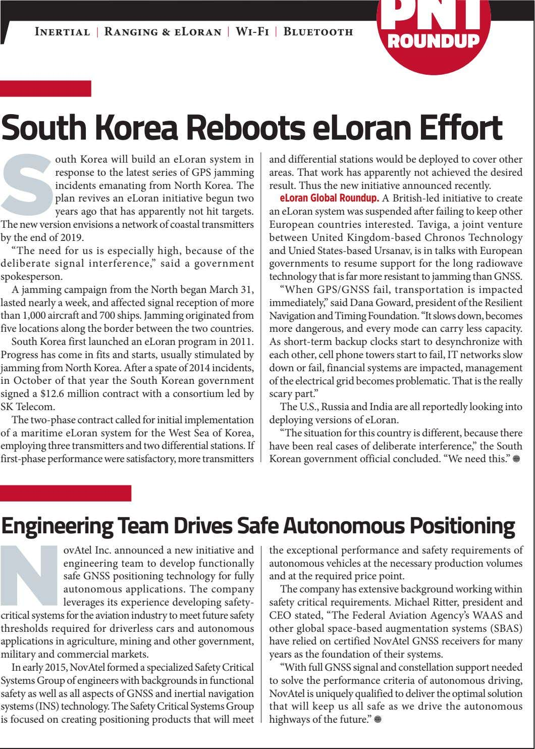 Inertial Ranging & eLoran Wi-Fi Bluetooth South Korea Reboots eLoran Effort S outh Korea will