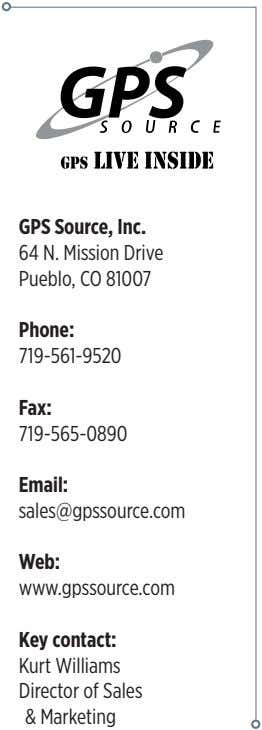 GPS Source, Inc. 64 N. Mission Drive Pueblo, CO 81007 Phone: 719-561-9520 Fax: 719-565-0890 Email: