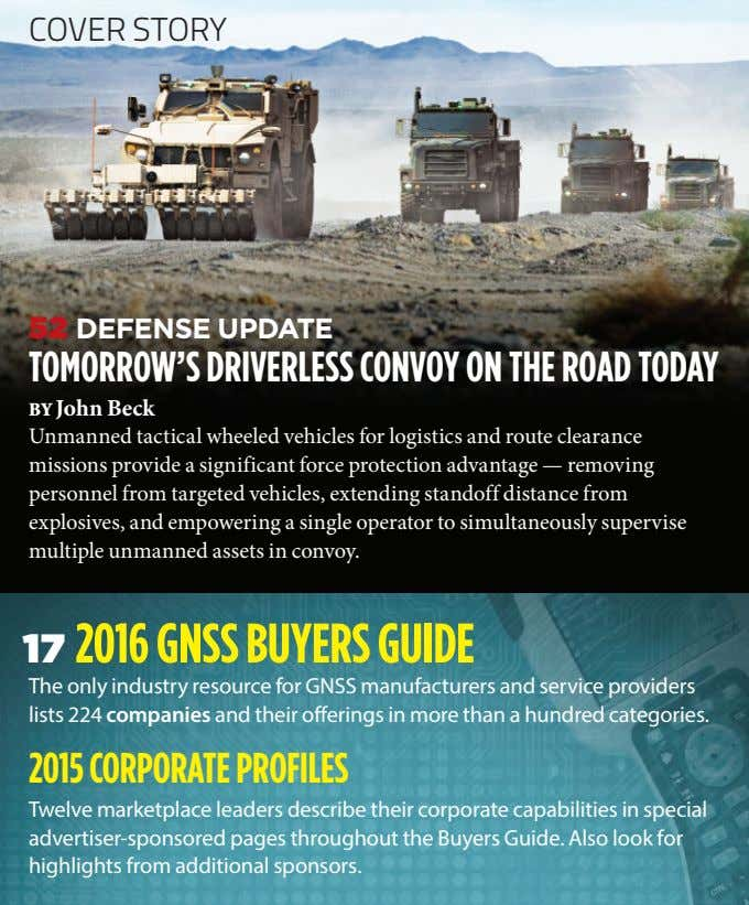 COVER STORY 52 DEFENSE UPDATE TOMORROW'S DRIVERLESS CONVOY ON THE ROAD TODAY BY John Beck
