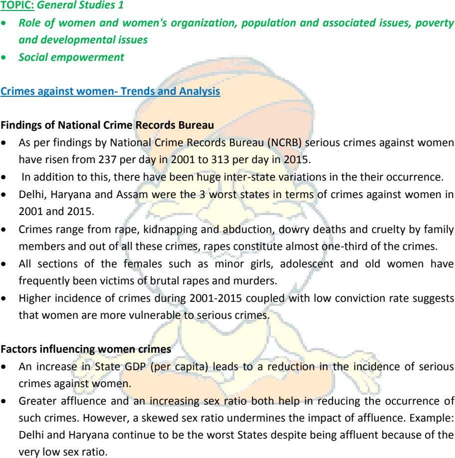 TOPIC: General Studies 1  Role of women and women's organization, population and associated issues,