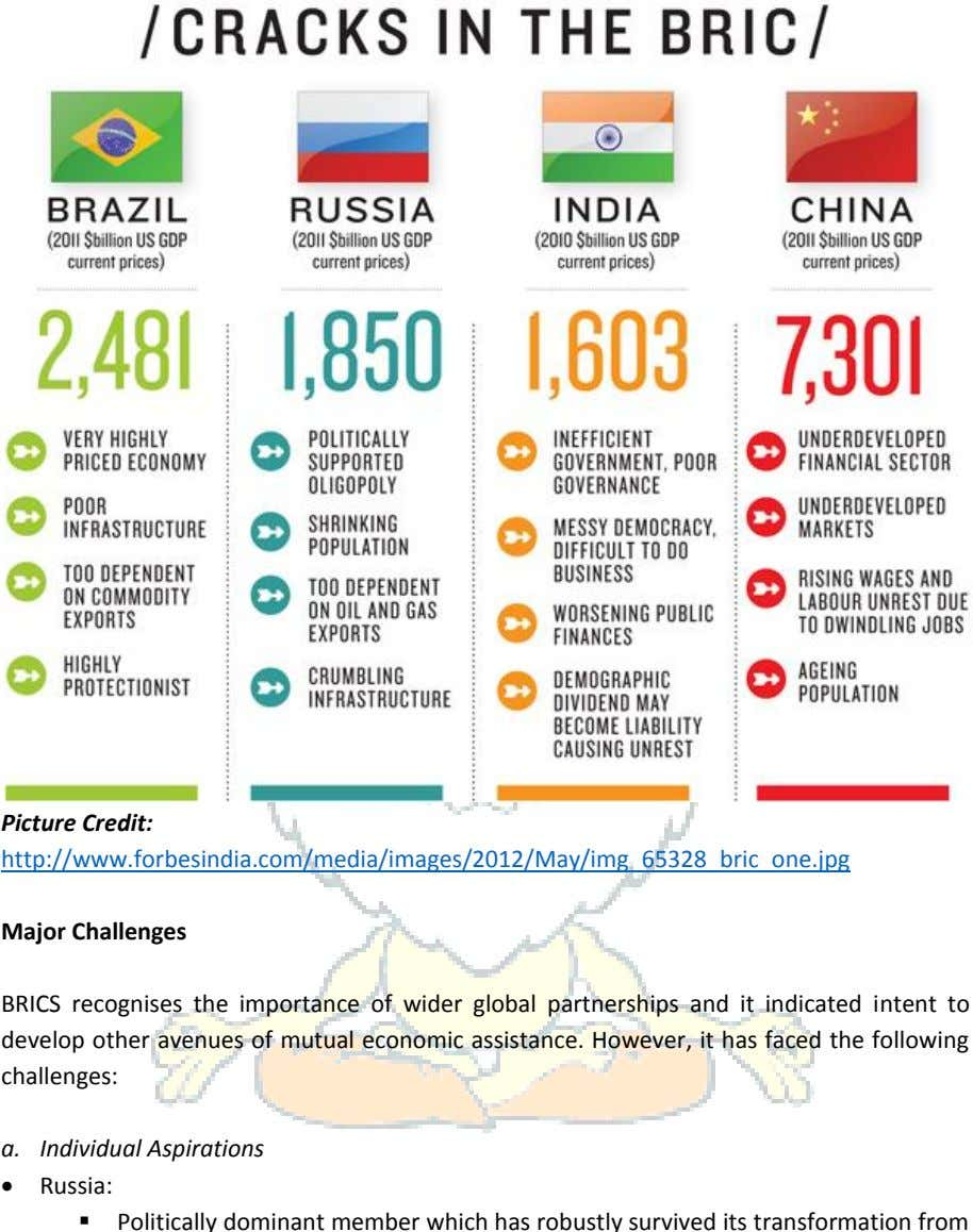 Picture Credit: http://www.forbesindia.com/media/images/2012/May/img_65328_bric_one.jpg Major Challenges BRICS
