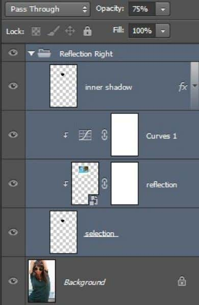 "create a group from selected layers and name this group ""Right reflection"". Lower the opacity of"