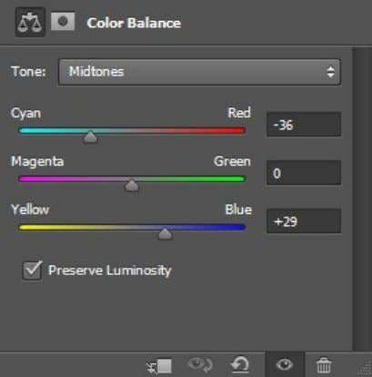 New Adjustment Layer > Color Balance ). Drag the Cyan slider towards the left and the