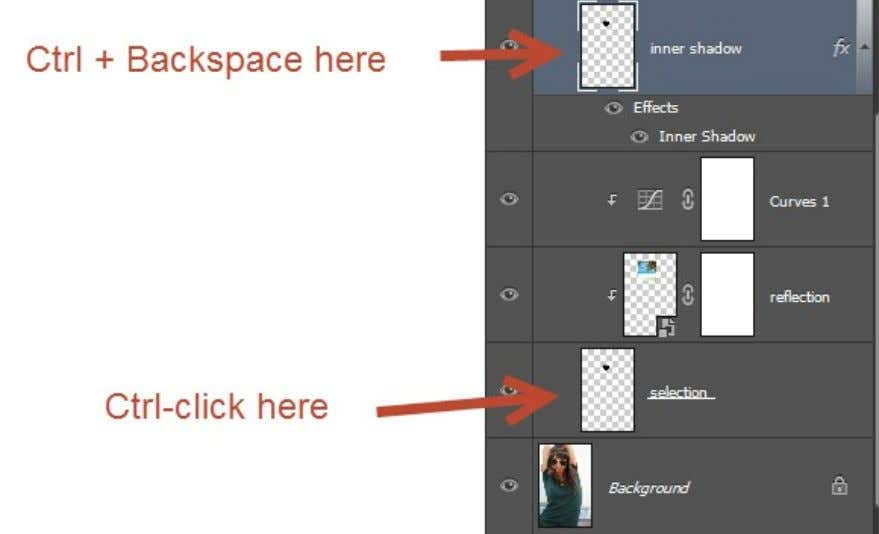 "Double click on the "" inner shadow "" layer and add an Inner Shadow effect."