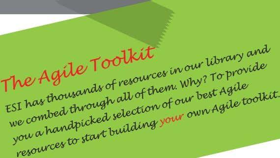 The Agile Toolkit ESI has thousands of resources our library and of them. in own