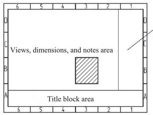 Views, dimensions, and notes area Title block area