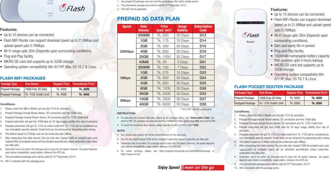 1. Any prepaid 3G package user can avail the promotional offer within validity period. 2.