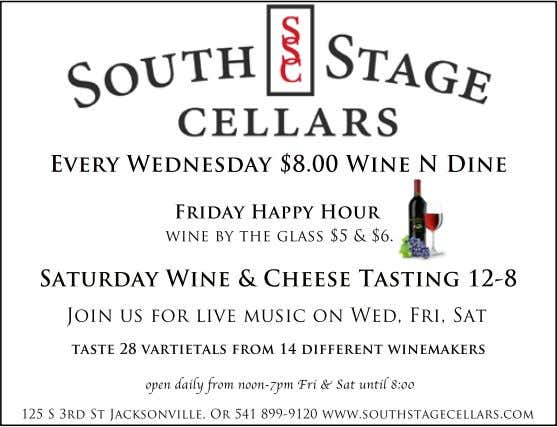 Every Wednesday $8.00 Wine N Dine Friday Happy Hour wine by the glass $5 &