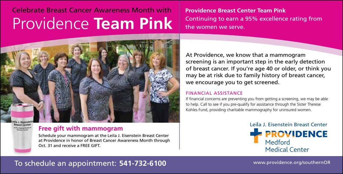 Celebrate Breast Cancer Awareness Month with Providence Team Pink Providence Breast Center Team Pink Continuing