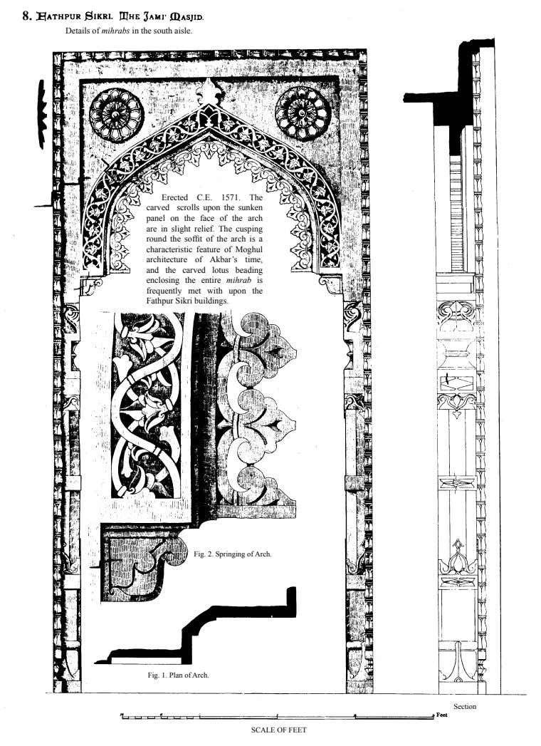 8. Details of mihrabs in the south aisle. Erected C.E. 1571. The carved scrolls upon