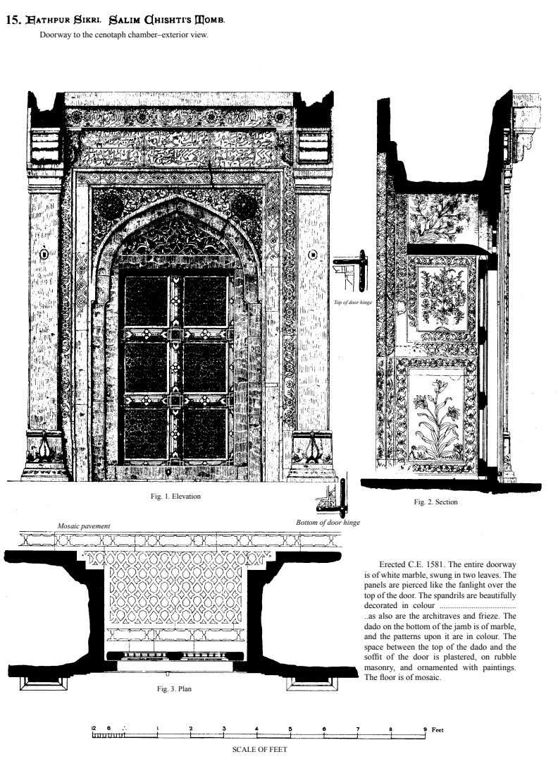 15. Doorway to the cenotaph chamber–exterior view. Top of door hinge Fig. 1. Elevation Fig.