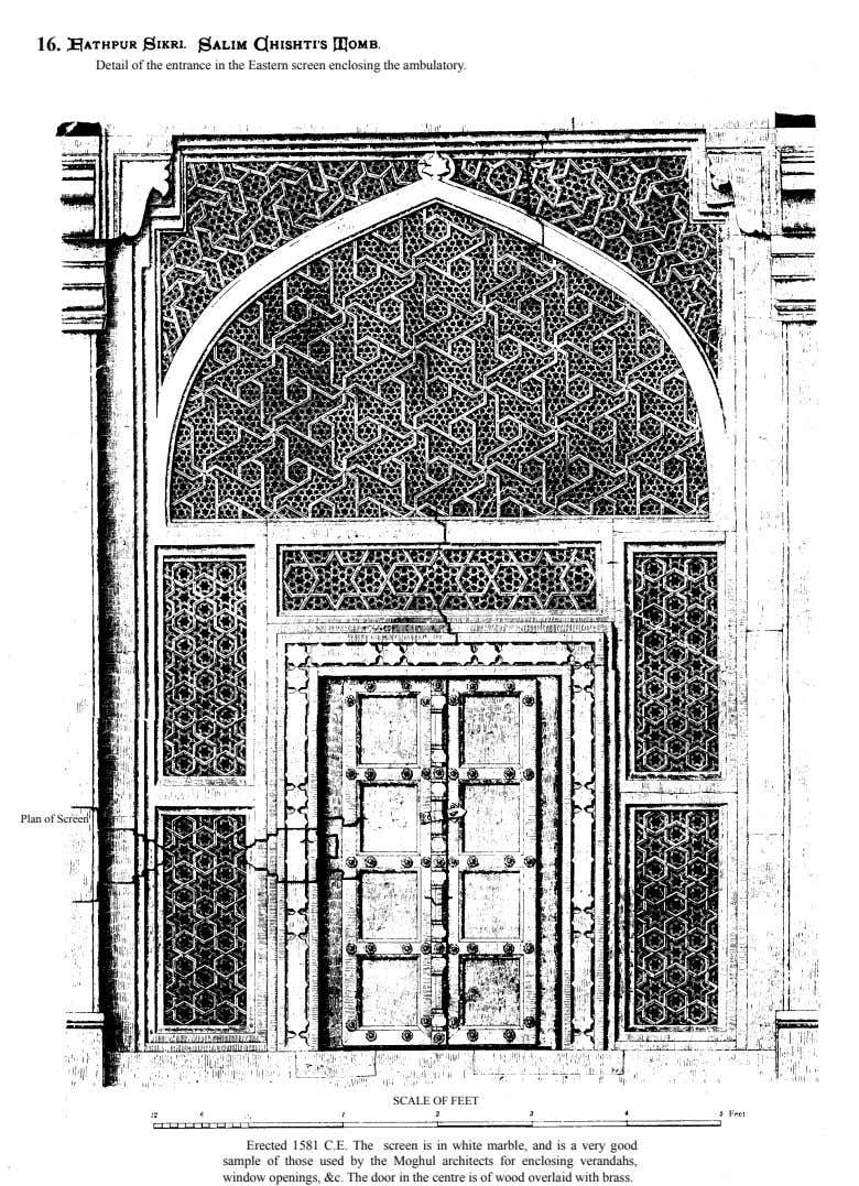 16. Detail of the entrance in the Eastern screen enclosing the ambulatory. Plan of Screen