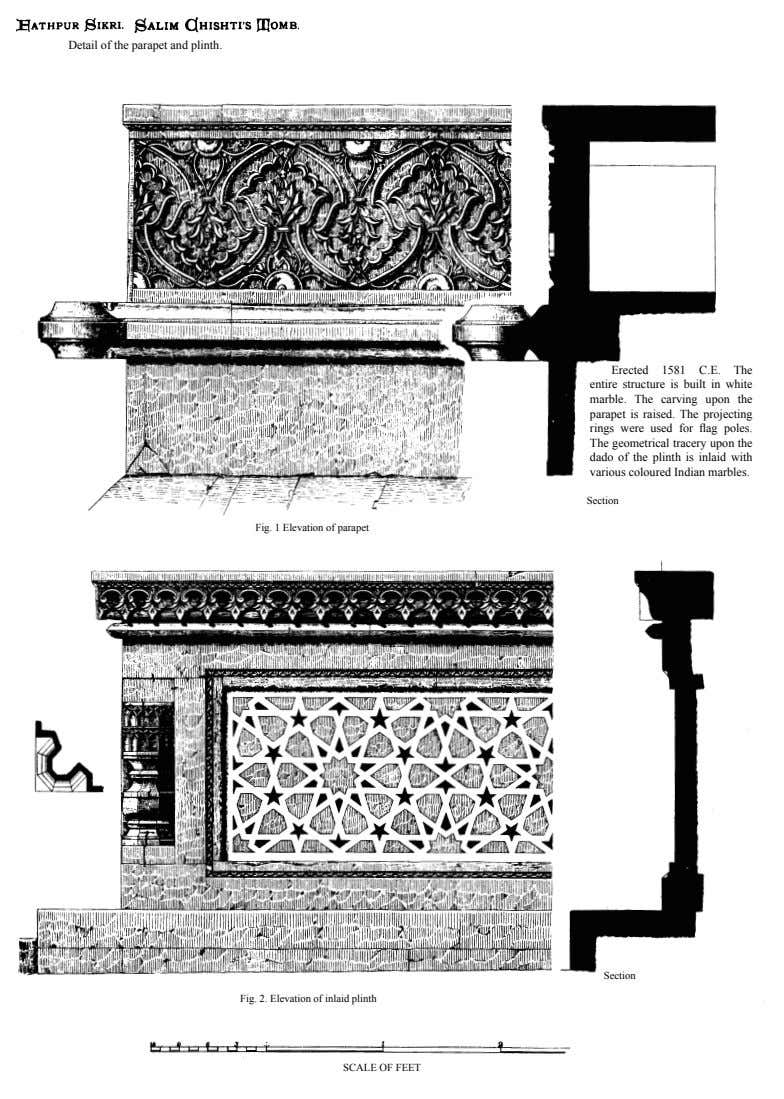 Detail of the parapet and plinth. Erected 1581 C.E. The entire structure is built in