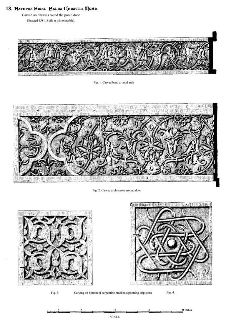18. Carved architraves round the porch door. [Eracted 1581. Built in white marble]. Fig. 1.