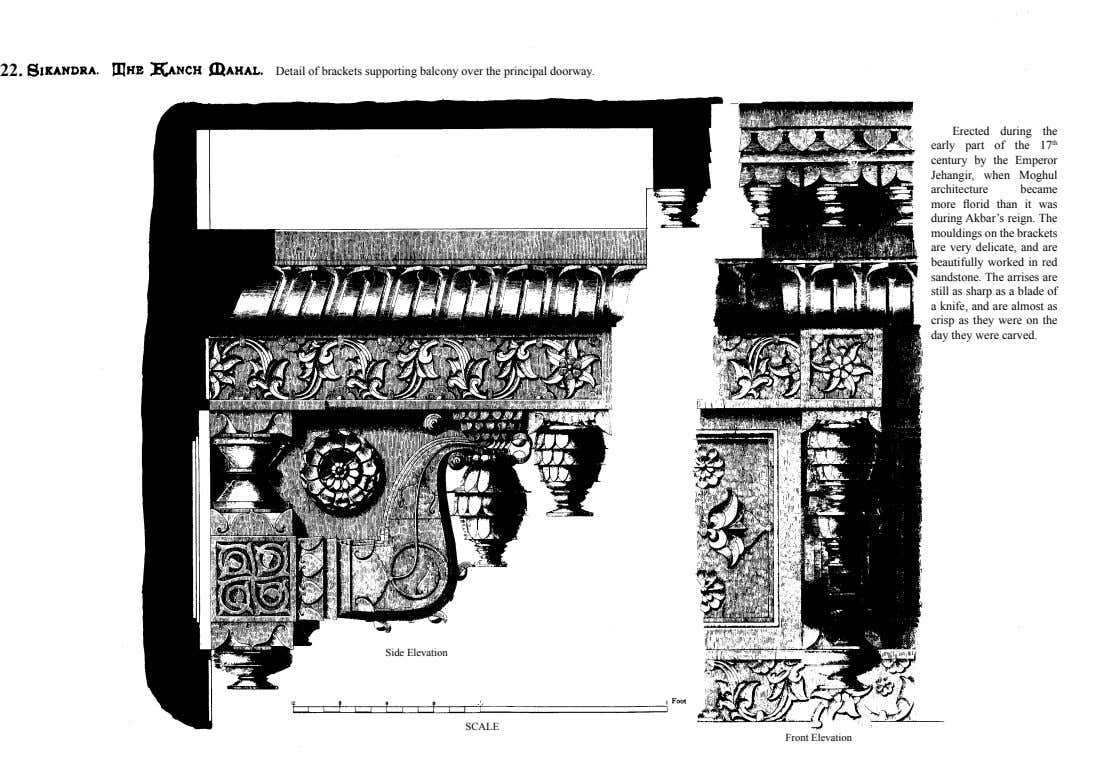 22. Detail of brackets supporting balcony over the principal doorway. Erected during the early part