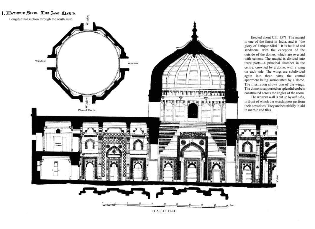 1. Longitudinal section through the south aisle. Window Window Plan of Dome Erected about C.E.