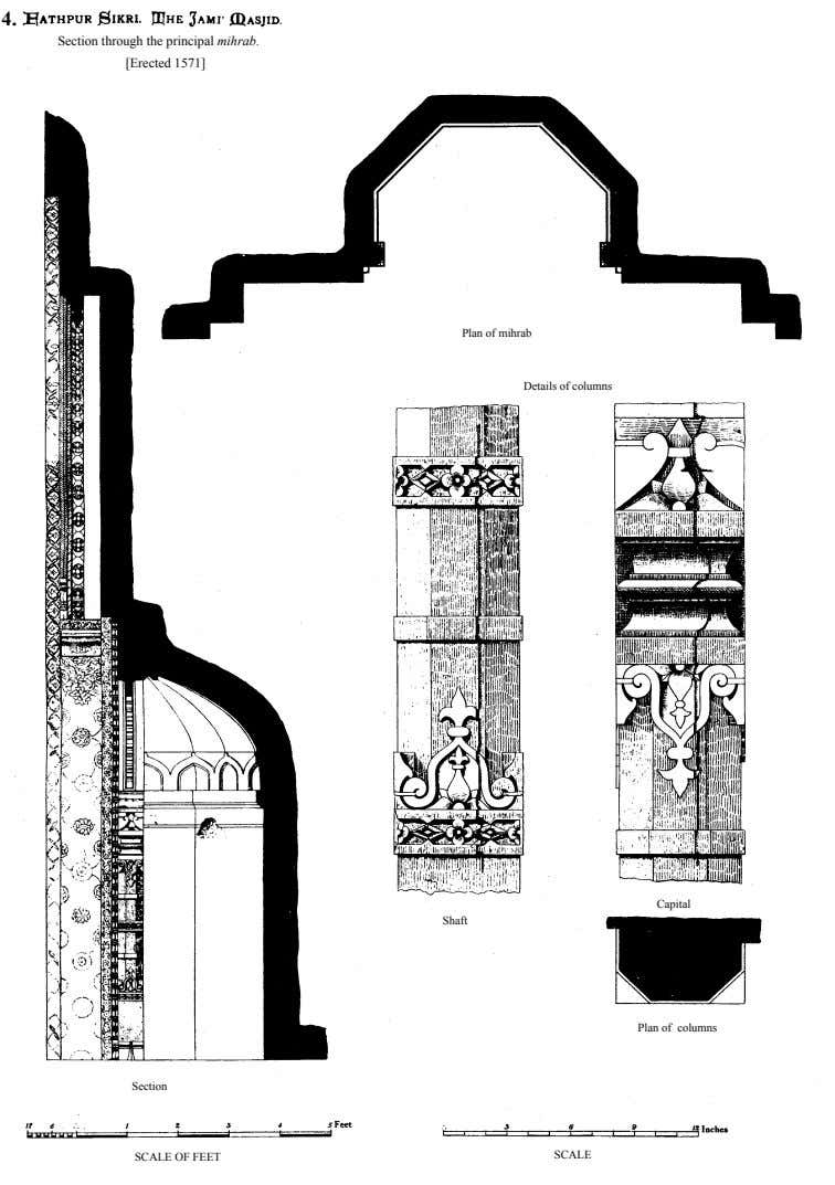 4. Section through the principal mihrab. [Erected 1571] Plan of mihrab Details of columns Capital