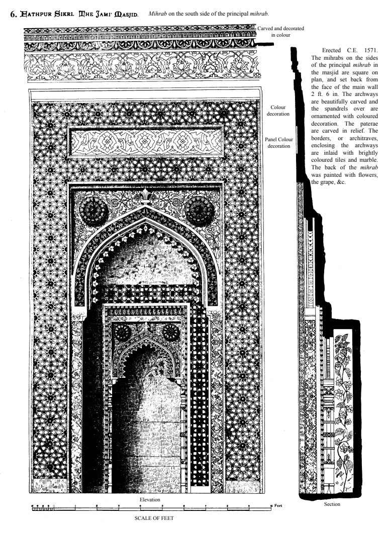 6. Mihrab on the south side of the principal mihrab. Carved and decorated in colour